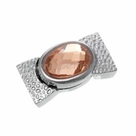 Užsegimas magnetinis su šampano sp. kabošonu, sidabro sp., 34x18 mm