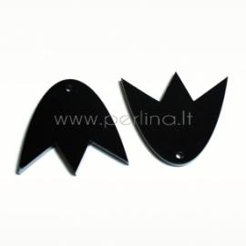 """Org. stiklo detalė-pakabukas """"Tulpė"""", juoda, 3x2,7 cm"""