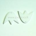 "Org. stiklo detalė-pakabukas ""Tulpė"", balta, 3x2,7 cm"