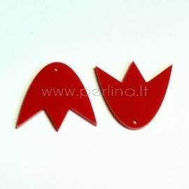 """Org. stiklo detalė-pakabukas """"Tulpė"""", raudona, 3x2,7 cm"""