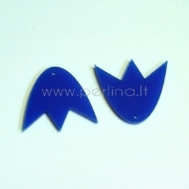 """Org. stiklo detalė-pakabukas """"Tulpė"""", mėlyna, 3x2,7 cm"""