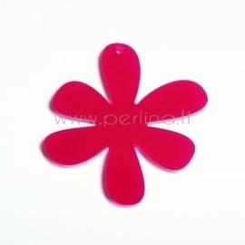 """Org. stiklo detalė-pakabukas """"Gėlytė 1"""", rožinė, 4x4 cm"""