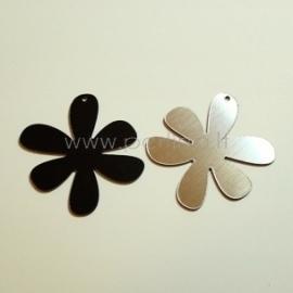 """Org. stiklo detalė-pakabukas """"Gėlytė 1"""", juoda/sidabrinė sp., 4x4 cm"""