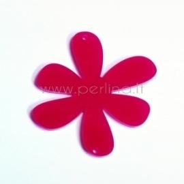 """Org. stiklo detalė-intarpas """"Gėlytė 1"""", rožinė sp., 4x4 cm"""