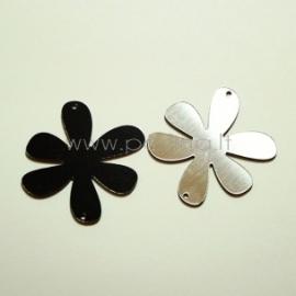 """Org. stiklo detalė-intarpas """"Gėlytė 1"""", juoda/sidabrinė sp., 4x4 cm"""