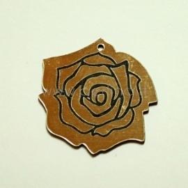 """Org. stiklo detalė-pakabukas """"Rožė"""", juoda/auksinė sp., 3,5x3,5 cm"""