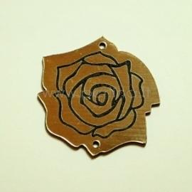 """Org. stiklo detalė-intarpas """"Rožė"""", juoda/auksinė sp., 3,5x3,5 cm"""
