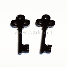 """Org. stiklo detalė-pakabukas """"Raktas"""", juodos sp., 2,6x1,2 cm"""