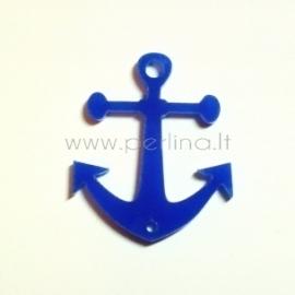 "Org. stiklo detalė-intarpas ""Inkaras"", mėlynos sp., 3x2,8 cm"