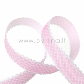 """Ripsinė juostelė """"Rožinė su taškeliais"""", 25 mm, 1 m"""