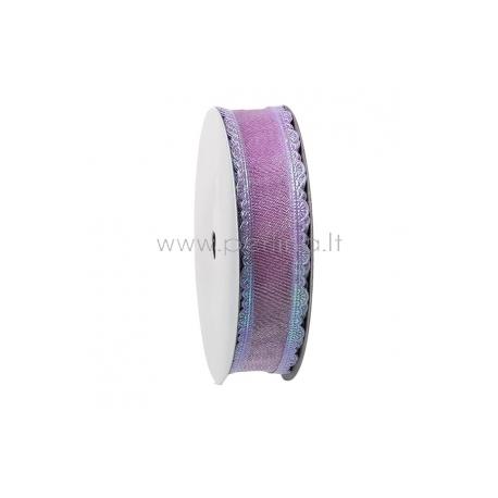 Satino juostelė su AB danga, violetinė, 25 mm, 1 m