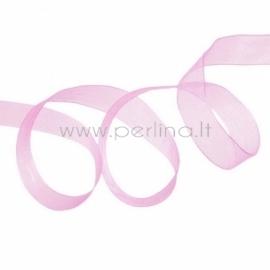Organzos juostelė, rožinė, 12 mm, 1 m