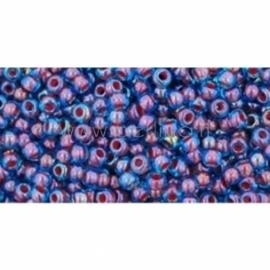 TOHO biseris, su šerdimi Aqua/Oxblood Lined (381), 11/0, 10 g