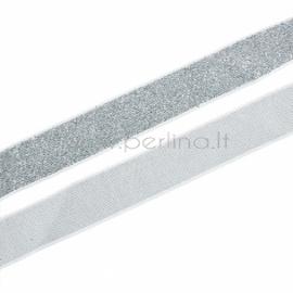 Poliesterio juostelė, sidabrinė sp. su blizgučiu, 20 mm, 1 m