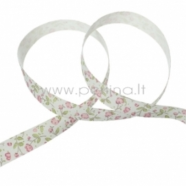 """Medvilninė juostelė """"Rožinės gėlytės"""", 15 mm, 1 m"""
