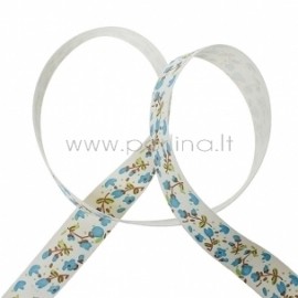 """Medvilninė juostelė """"Mėlynos gėlytės"""", 20 mm, 1 m"""