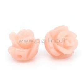 Sintetinis koralo karoliukas, gėlytė, kreminė-rožinė sp., 8x8 mm