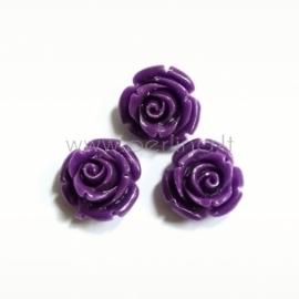 Sintetinis koralo karoliukas, gėlytė, violetinė sp., 12x12 mm