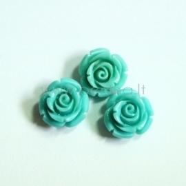 Sintetinis koralo karoliukas, gėlytė, melsvai žalia sp., 12x12 mm