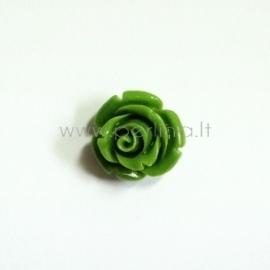 Sintetinis koralo karoliukas, gėlytė, žalio obuolio sp., 12x12 mm