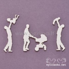 """Kartoninė detalė """"Šeimos albumas - tėtė su vaiku ir vežimėliu"""", 3 vnt."""