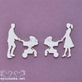 """Kartoninė detalė """"Šeimos albumas - mama ir tėtė su vežimėliu"""", 2 vnt."""