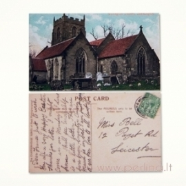 """Mini atvirlaiškis """"Londono bažnyčia"""", 4x7 cm"""