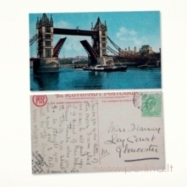 "Mini atvirlaiškis ""Londono tiltas"", 4x7 cm"