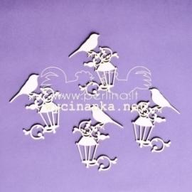 """Kartoninė detalė """"Temstant - paukštelis ant žibinto"""", 4 vnt."""