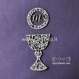 """Kartoninė detalė """"Pirmoji Komunija - taurė su ornamentu"""", 1 vnt."""