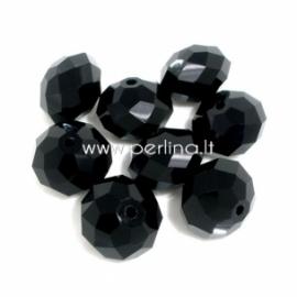 Stiklinis karoliukas, rondelė, juodos sp., 11x14 mm, 1 vnt.