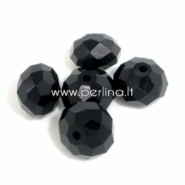 Stiklinis karoliukas, rondelė, juodos sp., 8x12 mm, 1 vnt.