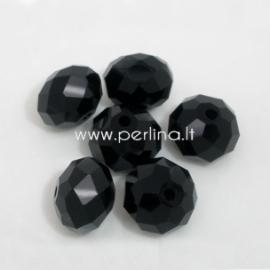 Stiklinis karoliukas, rondelė, juodos sp., 8x10 mm, 1 vnt.