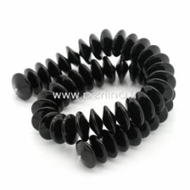 Stiklinis karoliukas, juodos sp., 6x15 mm, 1 vnt.