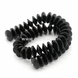 Glass flat round bead, black, 6x15 mm, 1 pc