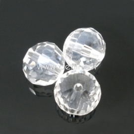 Stiklinis karoliukas, apvalus, šlifuotas, skaidrus, 8 mm, 1 vnt.