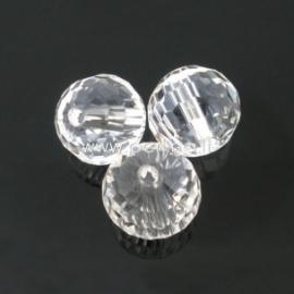 Stiklinis karoliukas, apvalus, šlifuotas, skaidrus, 10 mm, 1 vnt.
