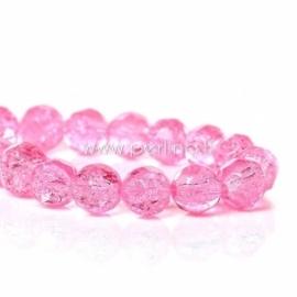 Stiklinis karoliukas, apvalus, šlifuotas, ryški rožinė sp., 8 mm, 1 vnt.
