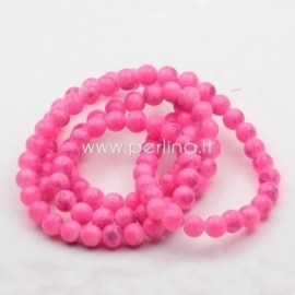 Stiklinis karoliukas, apvalus, marga rožinė sp., 8 mm, 1 vnt.