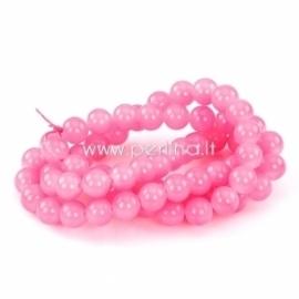 Stiklinis karoliukas, apvalus, rožinė sp., 12 mm, 1 vnt.