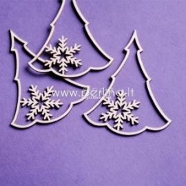 """Kartoninė detalė """"Kalėdinės eglės su snaigėmis"""", 3 vnt."""