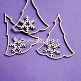 """Chipboard """"Christmas tree with snowflakes"""", 3 pcs"""