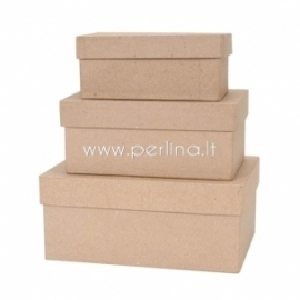Paper mache rectangle box set , 3 pcs