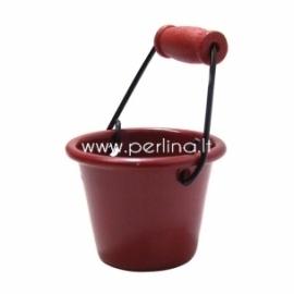 Metalinis kibirėlis, raudonos sp., 1 vnt.
