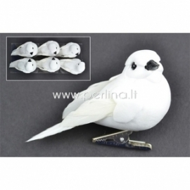 Bird white dove with clip, 1 PC/Pkg