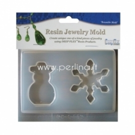 """Resin Jewelry Reusable Plastic Mold """"Snowman & Snowflake"""", 2 shapes"""