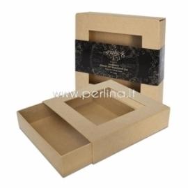 Kartoninė ištraukiama dėžutė su langeliu, 21,6x21,6x5,1 cm