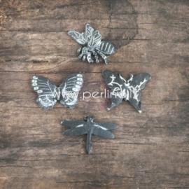 "Dek.detalės ""Resin Embellishments - Chalkboard Black Butterfly"", 12 vnt."