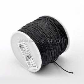 Vaškuota medvilninė virvelė, juoda, 1 mm, 80 m