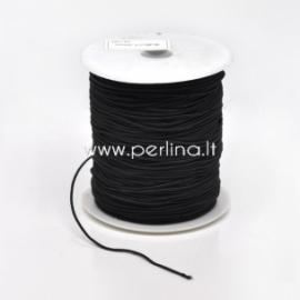 Elastic cotton covered thread, black, 1 mm, 1 m